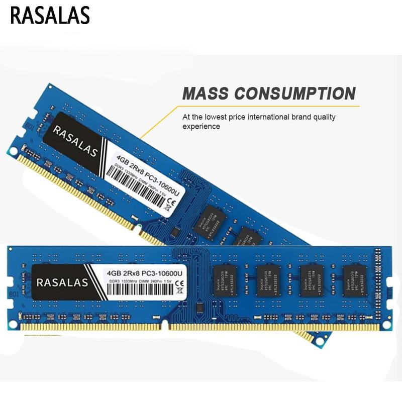 Rasalas Memoria RAM DDR3 8G 4G 2G 8500, 10600, 12800, 1066, 1333,...