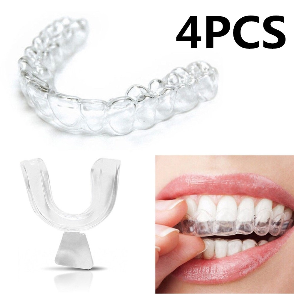 4pcs Silicone Night Mouth Guard for Teeth Clenching Grinding Dental Bite Sleep Aid Whitening Teeth Mouth Tray