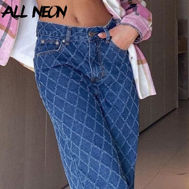 90s street clothes, Tatan jeans, Y2K, high waist, blue jeans, retro, independent, skateboard suit  ripped jeans for women 6