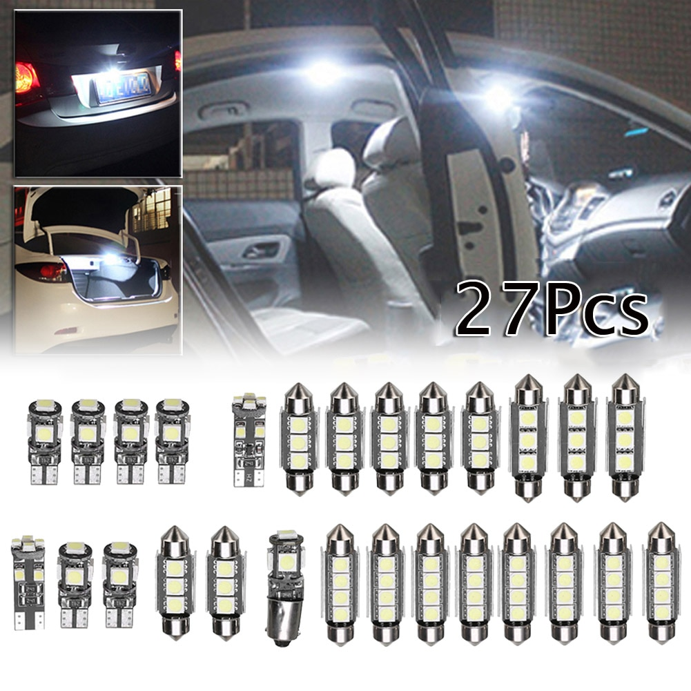 27Pcs Car Interior White LED Light Mini Bulbs Kit Heat Resistant 6000K Auto Accessories For Mercedes Benz E class W211 02-08
