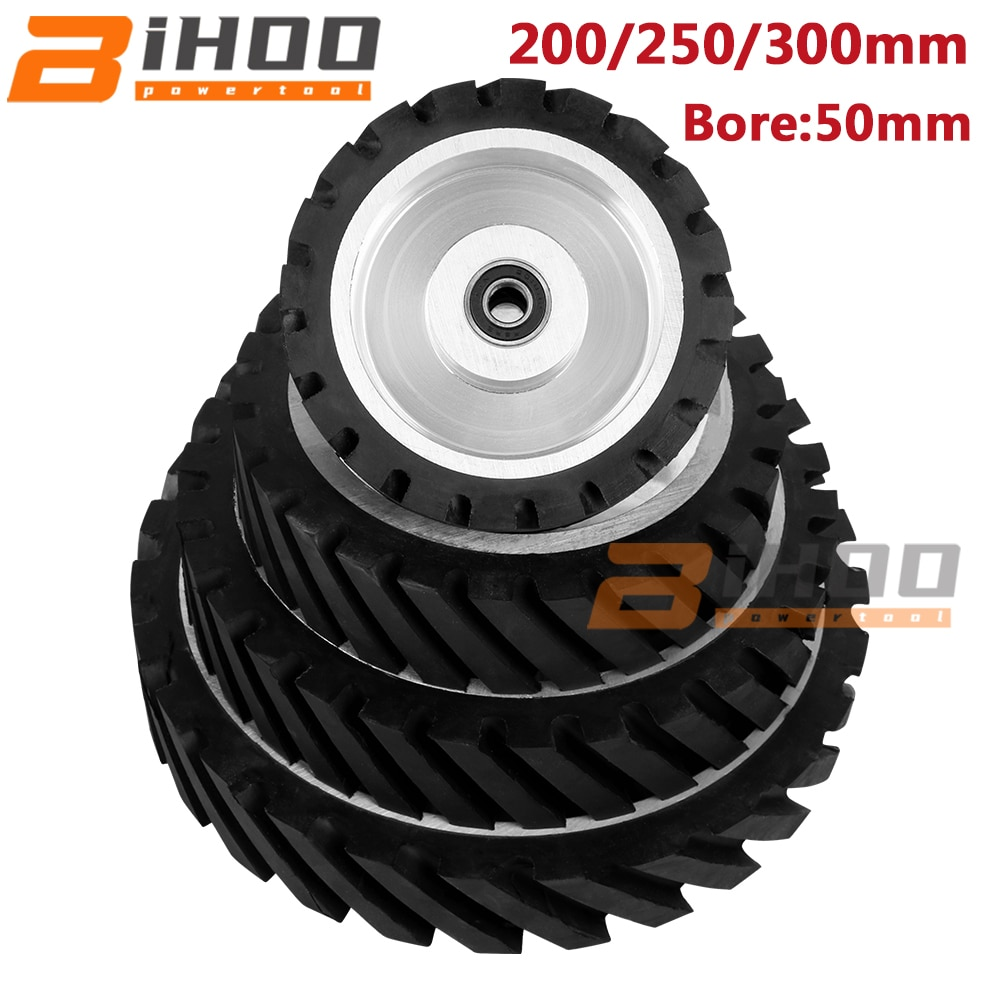 200/250/300mm Serrated Belt Grinder Contact Wheel Bore 50mm Rubber Wheel for Abrasive Grinding Belt With Bearing