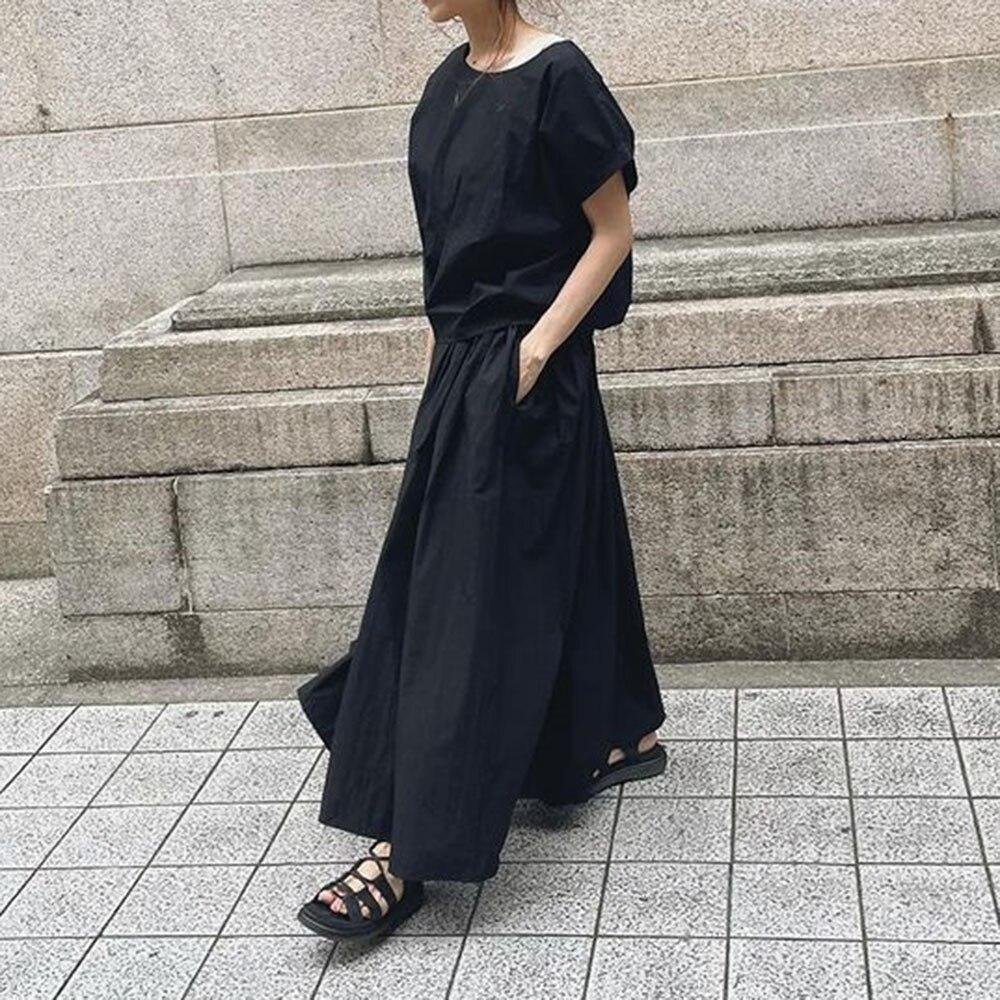 Summer Women Two Piece Sets 2021 Korean Fashion Black Round Neck Shirt+Long Pants Sets Ladies Casual