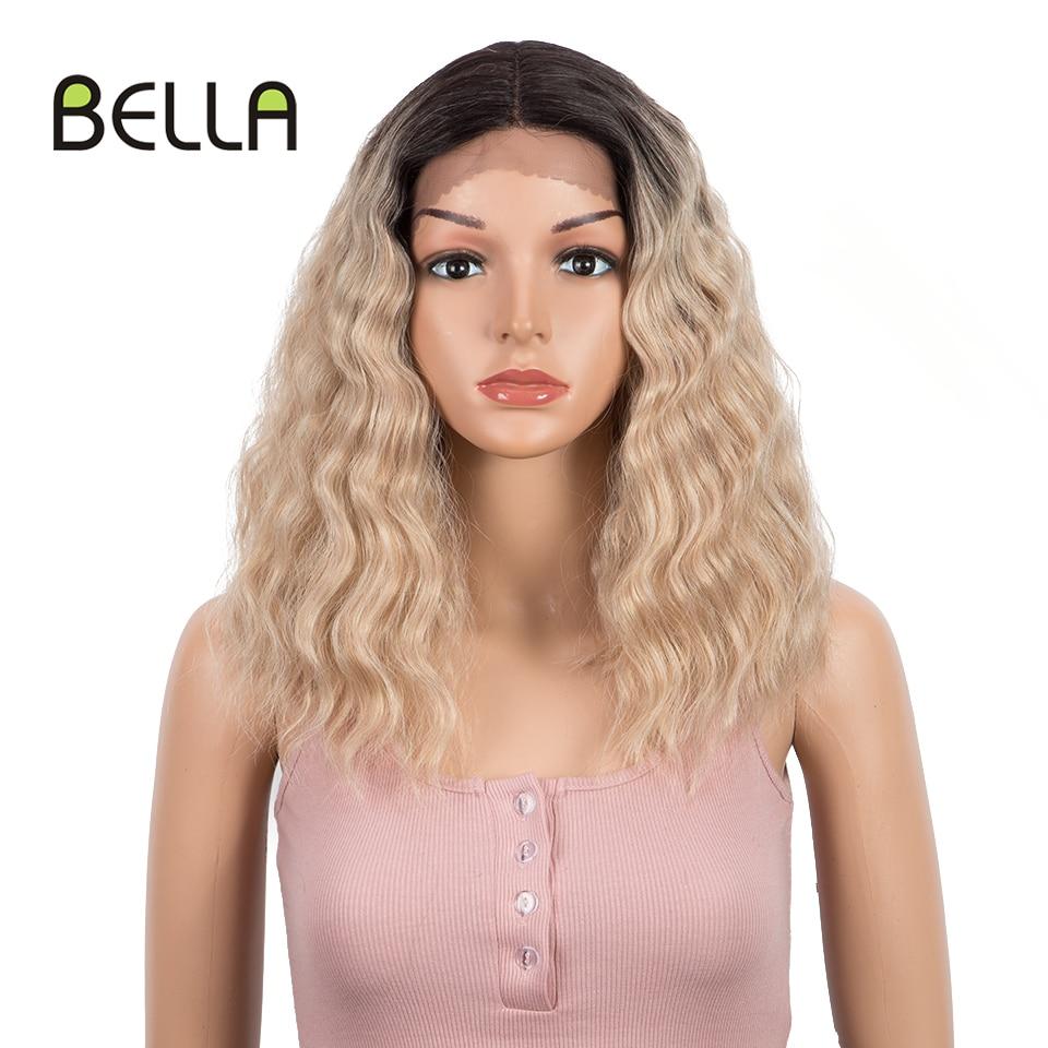 Bella cabelo curto onda natural 15 Polegada perucas sintéticas da parte dianteira do laço para as mulheres bob rosa loira 3 cores ondulado peruca dianteira do laço sintético