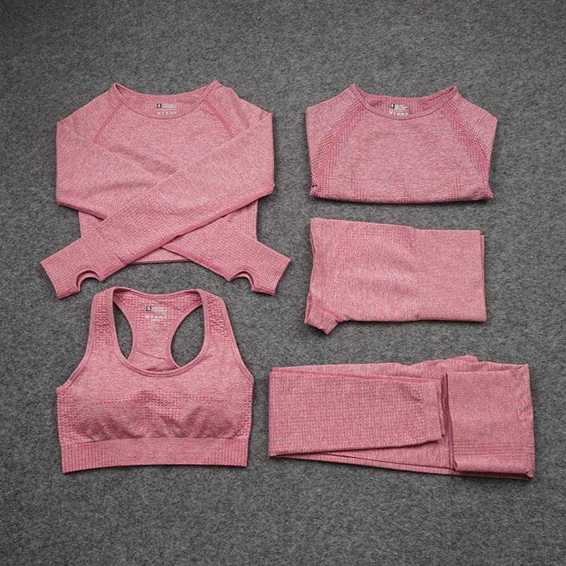 2/3/5PCS Seamless Women Yoga Set Workout Sportswear Fitness Long Sleeve Crop Top High Waist Leggings
