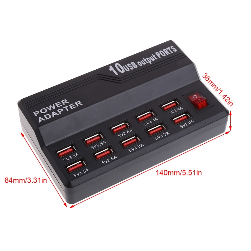 10 Port USB Power Charger Power Adapter Fast Charging Station Wall Travel Desktop Charger