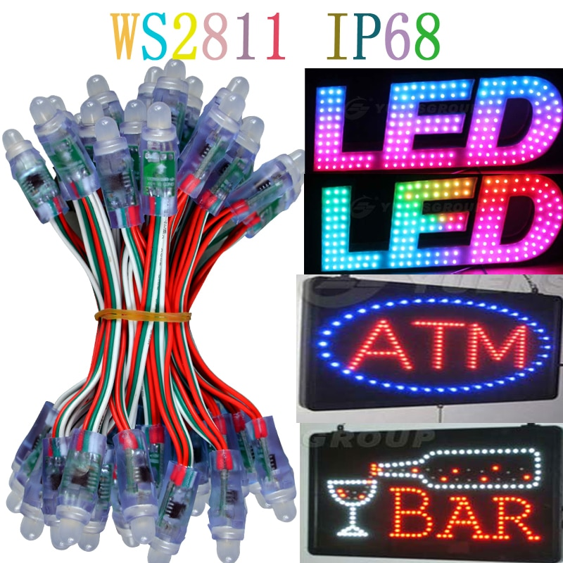 A 12mm WS2811 pixel led module lamp bulb IP68 DC5V full color RGBstring christmas light Addressable as ucs1903 WS2801