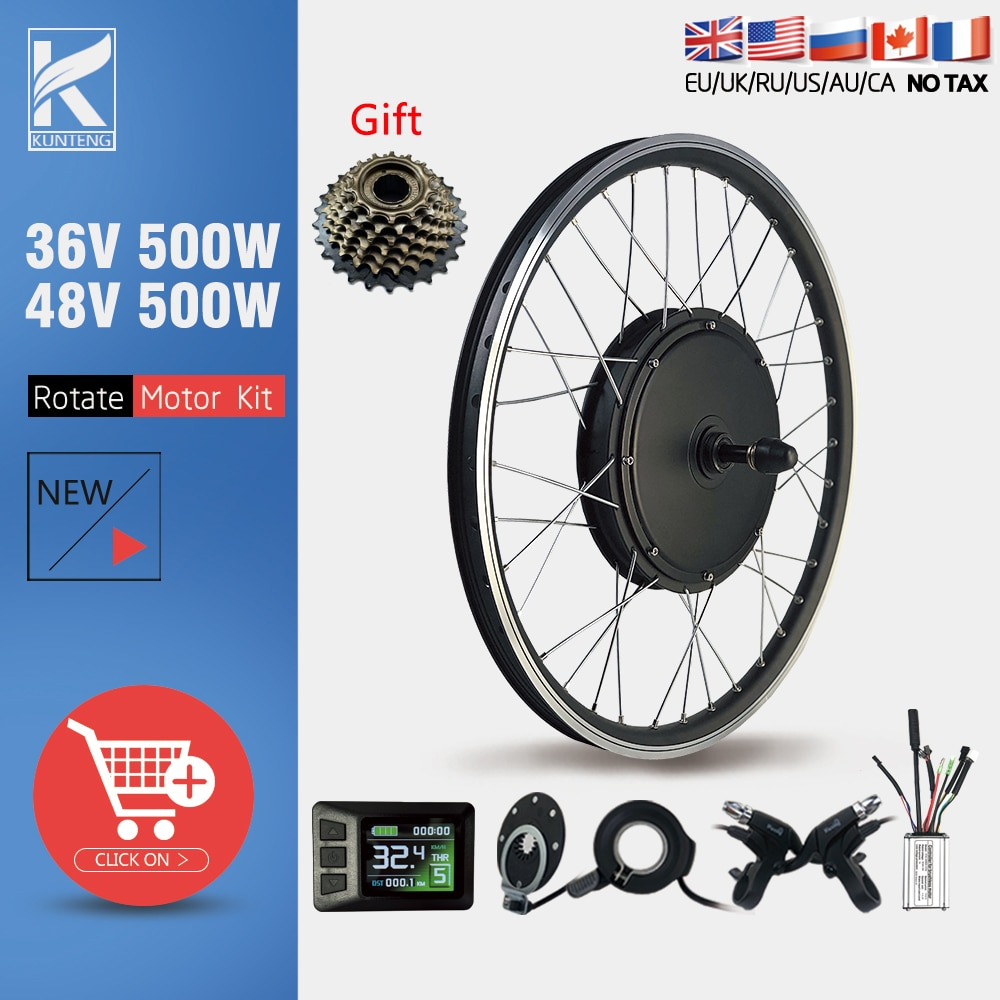 Electric Bicycle Conversion Kit 36V48V 500W Rear Rotate Brushless Gearless Hub Motor  20-29inch 700C For Ebike Conversion Kit
