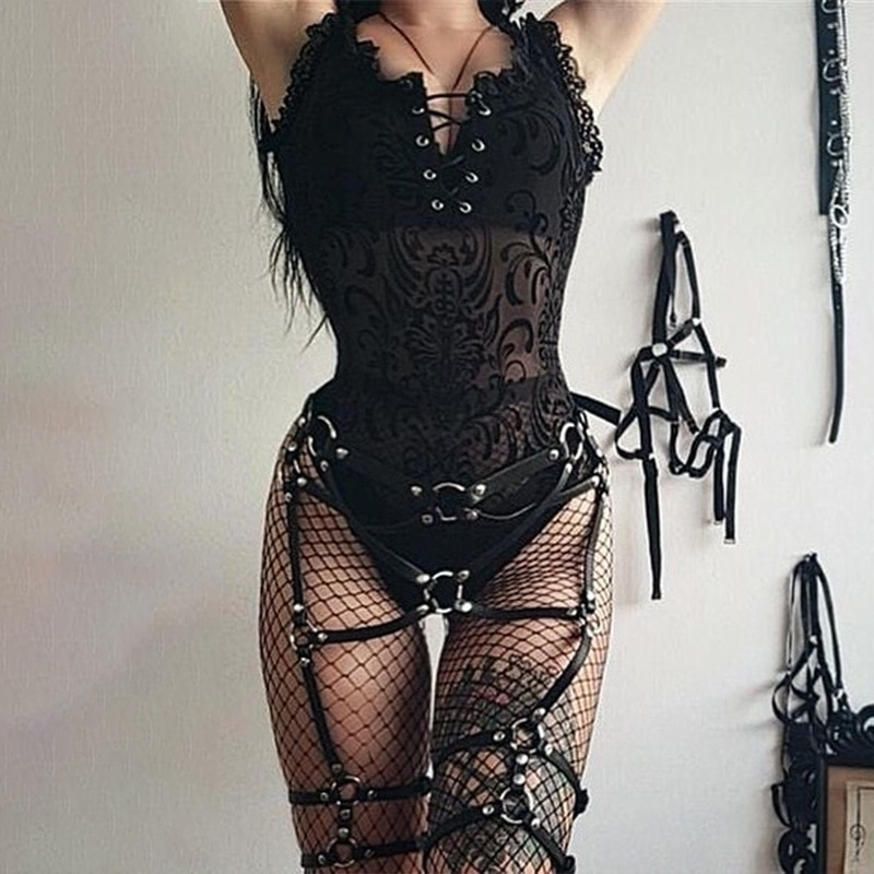 Gothic Sexy Women Black Bodysuit 2020 Chic Square Neck Sleeveless Wear Transparent Punk Lace Mesh Summer Female Bodycon
