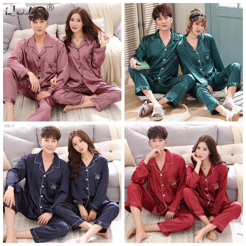 Люкс пижама костюм атлас шелк пижамы комплекты пара одежда для сна семья пижама любовник ночь костюм мужчины 26% женщины повседневный дом одежда