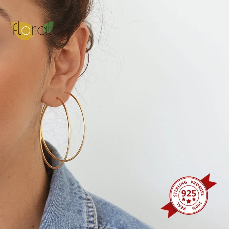 Exaggerate Big Smooth Round Hoop Earrings 925 Sterling Silver Simple Geometric Circle Gold Earrings For Women Fashion Jewelry