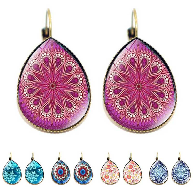 Bohemia Bright Flower Design Water Drop Fashion Women Earrings Mandala Yoga Indian Style Glass Tear Drop Earrings Jewelry Gifts