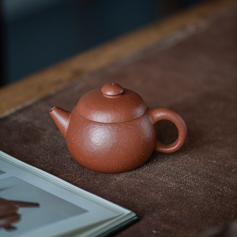Yixing-إبريق شاي الكونغ فو اليدوي للمنزل ، سعة صغيرة ، غير مكتمل ، خام ، خشن ، منحدر ، طين ، 120 سم مكعب