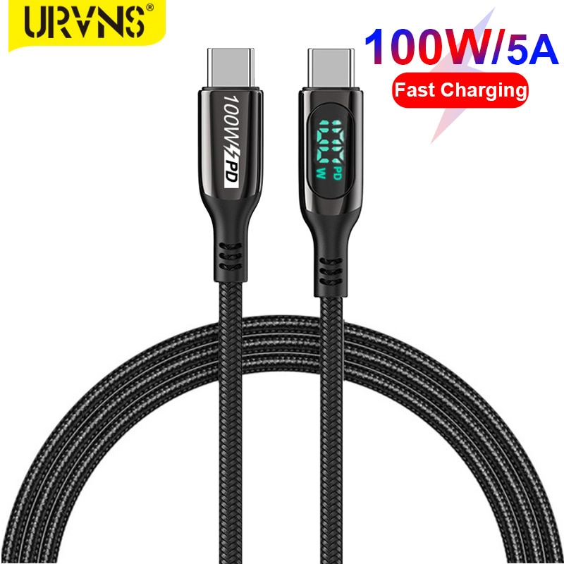 URVNS 5A 100W Type C Cable For Huawei Samsung Xiaomi LED Display USB C Cable Type C To Type C Fast C
