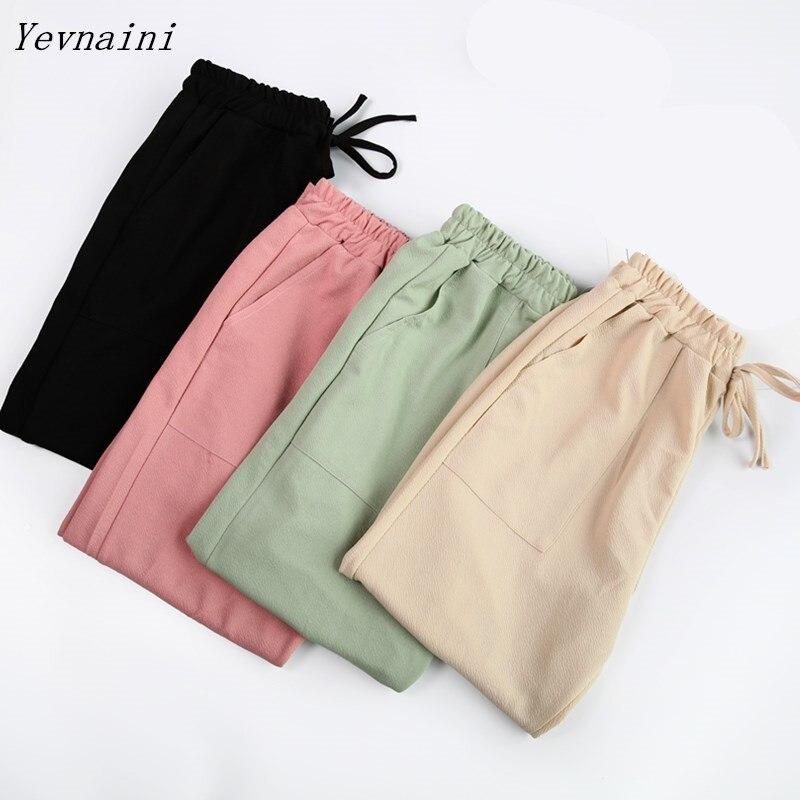 ¡Novedad! En 4 colores pantalones para mujer, pantalones de verano de lino y algodón, pantalones capri coreanos de cintura alta elástica, pantalones harén ligeros de talla grande
