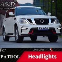 head lamp for nissan patrol y62 2010 2019 headlights fog lights daytime running lights drl h7 led bi xenon bulb car accessories