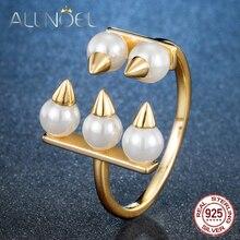 ALLNOEL argent 925 bijoux créatif perle anneau corne de boeuf concepteur réel or fête Fine bijoux personnalisé ornement Design ouvert