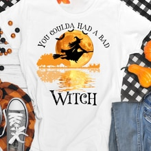 Colored You Coulda Had A Bad Witch T-shirt Vintage Halloween Party Tshirt Aesthetic Magic Witchy Wom