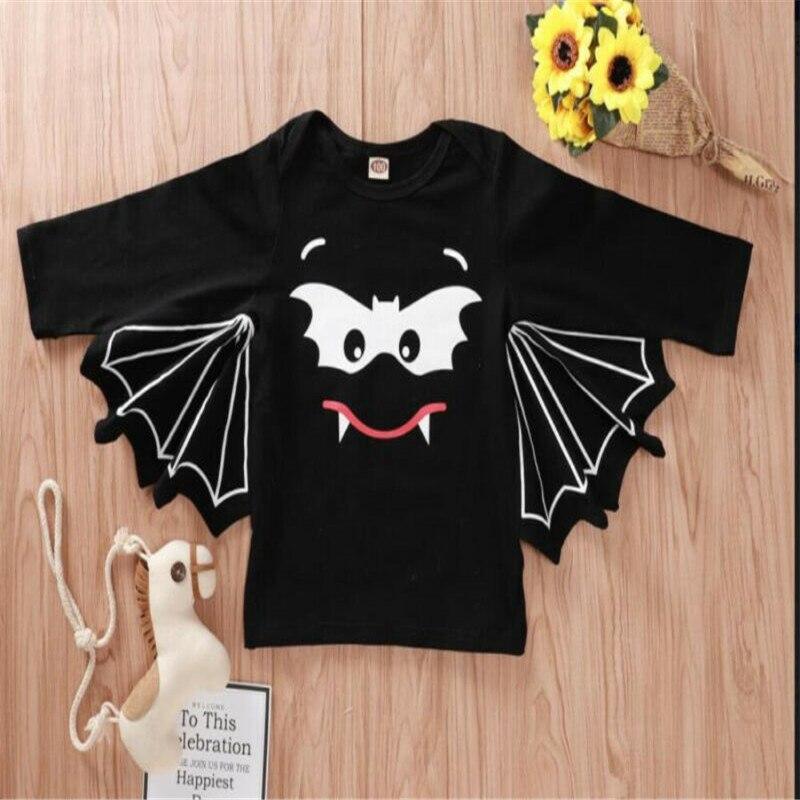 Novedad Halloween bebé trajes bebé niñas niños hermanos y hermanas bate ropa con alas bebé camiseta niños ropa