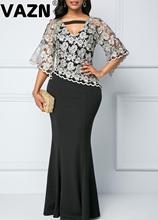 Vazn 2020 Hot Mature High-End Plus Size Vintage Borduurwerk Elegante Sexy Club Fahion Half Mouwen Vrouwen Zeemeermin Maxi jurk