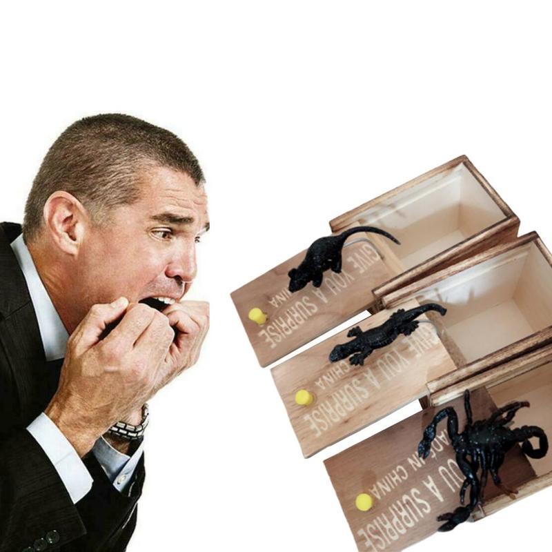 Realista juguete de goma ratón araña insertar caja sorpresa broma divertida miedo broma mordaza regalos sorpresa caja de madera juguetes difíciles regalo
