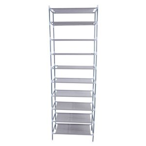 Fast Shipping Simple Assembly 10 Tiers Non-Woven Fabric Shoe Rack Gray Home Shoes Boot High Heels Storage Rack Easy Installation