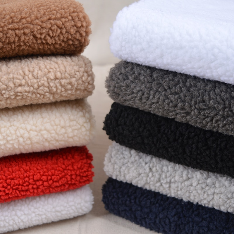 Forro Polar de felpa de media yarda, forro para ropa de lana de imitación grueso, Forro cálido, Material DIY hecho a mano