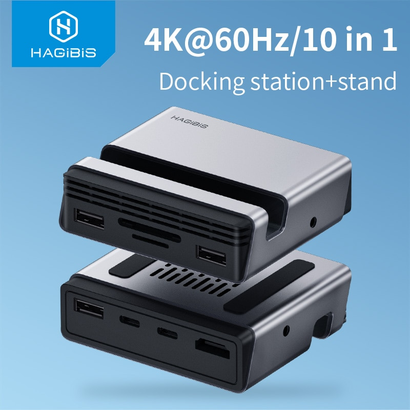 Hagibis Tipo-tipo C Docking station USB Hub C-c a PD 4K hdmi SD/TF card reader adaptador RJ45 Phone Holder Stand 60hz para MacBook