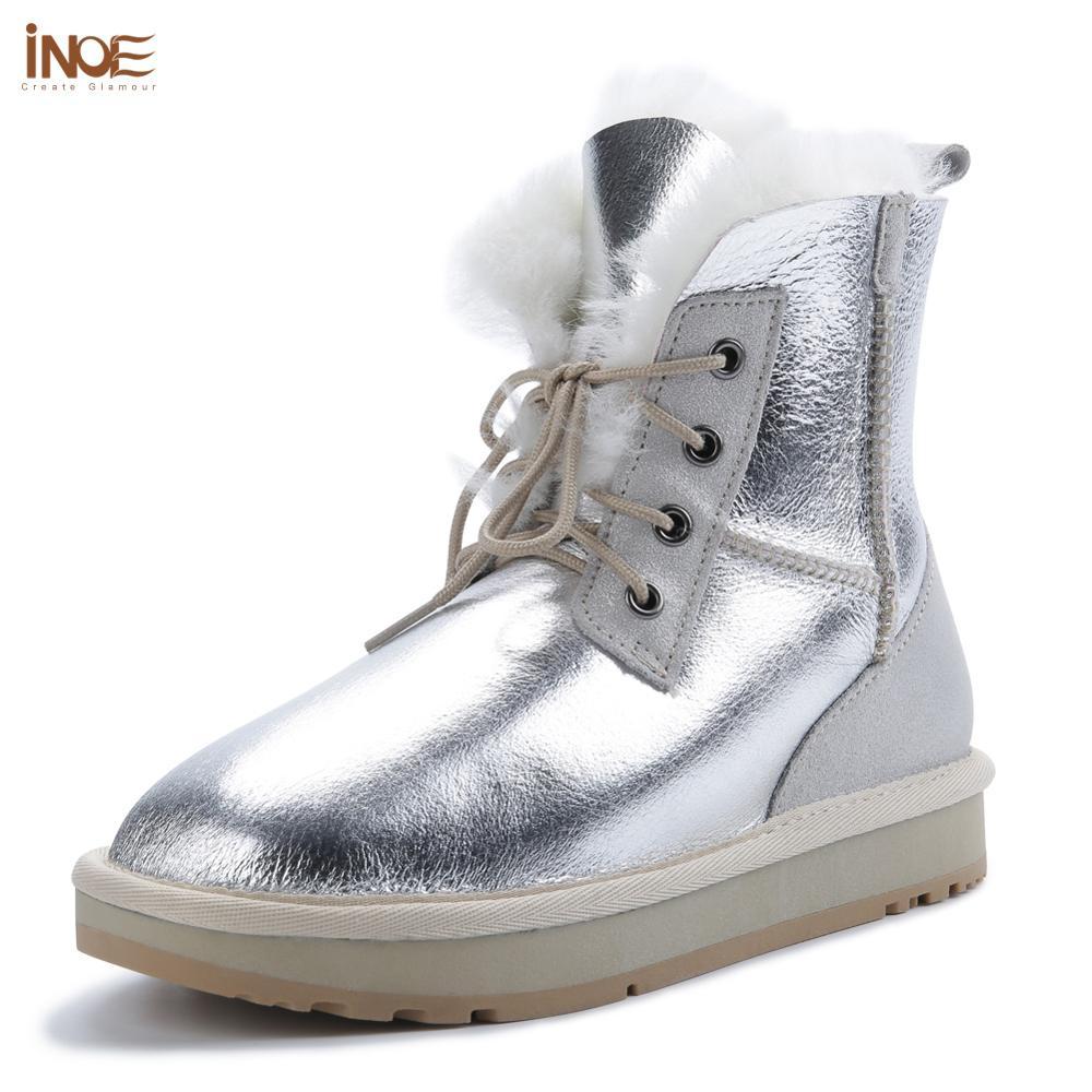 INOE المرأة قصيرة الكاحل أحذية الثلوج الشتاء غير رسمية جلد الغنم الحقيقي الصوف القص الفراء الطبيعي اصطف أحذية دافئة مقاوم للماء