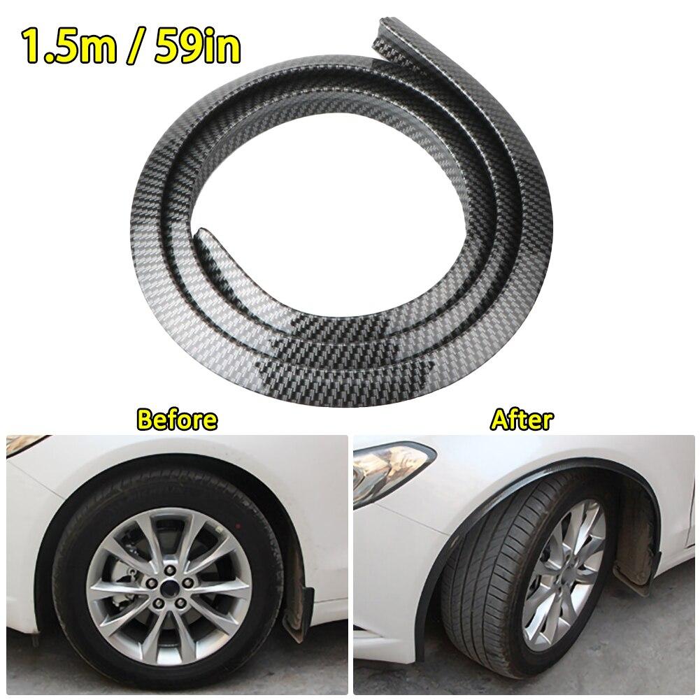 Protector de cejas de goma para rueda Universal de 1,5 M, Tira protectora para guardabarros, tira decorativa de fibra de carbono para coche SUV