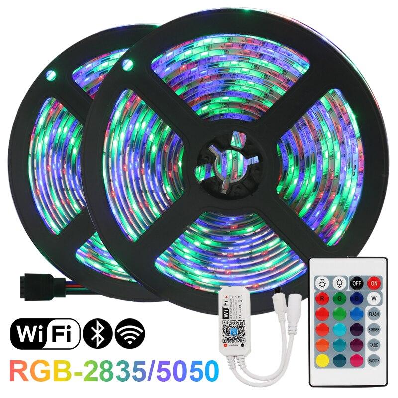 Светодиодные RGB-ленты, 12 В постоянного тока, RGB, Iuces, водонепроницаемые гибкие лампы 5050SMD2835, лента, диодные светодиодные лампы, Wi-Fi