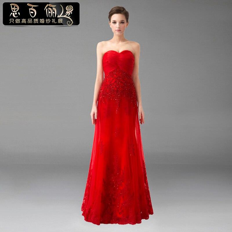 Frete grátis 2016 ew moda vestidos formais até o chão noivas vestidos de empregada vestido coctail vermelho longo vestidos de noite rendas frisado