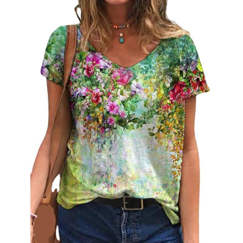Tops de talla grande para mujer y Camiseta con estampado Floral 3D...
