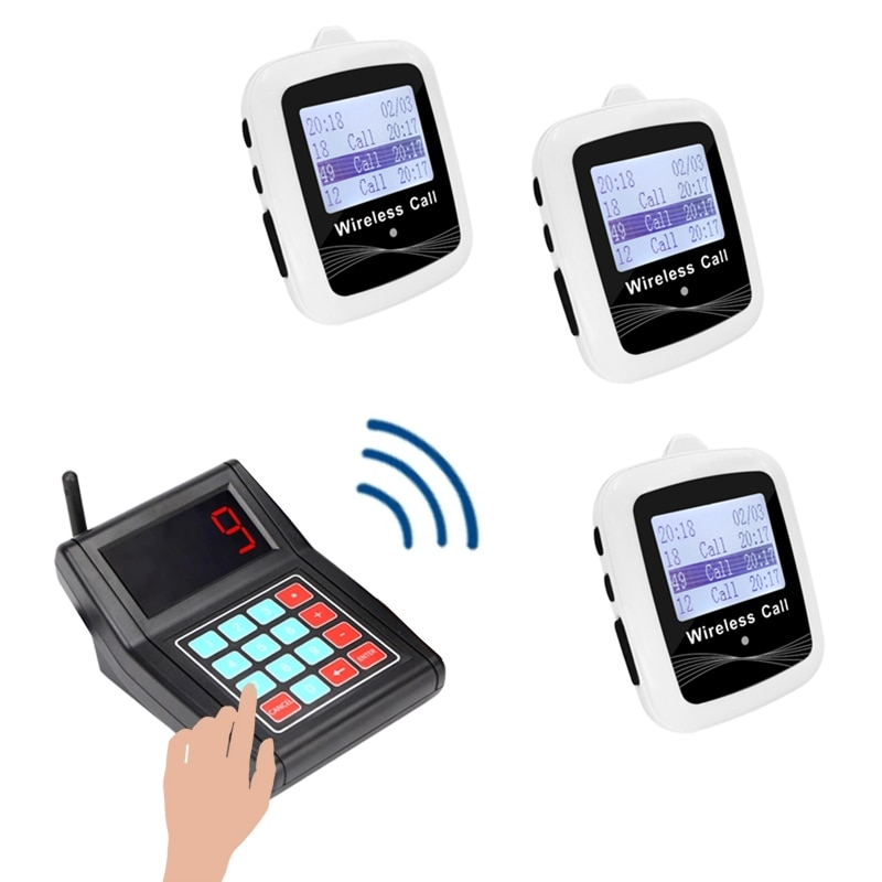 Long Distance Wireless Paging Calling System 1 Keyboard Transmitter + 3 Watches Black White Free Shipping For Restaurant Cafe