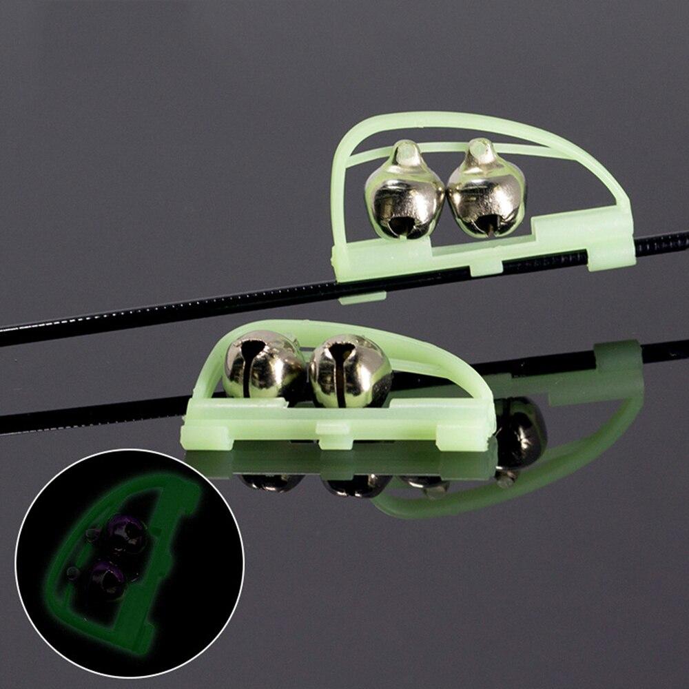 10 Pcs Angelrute Alarm Glocken Clip Stil Dual Glocken Rod Clamp Spitze Clip Twin Alarm Glocken (Grenn)
