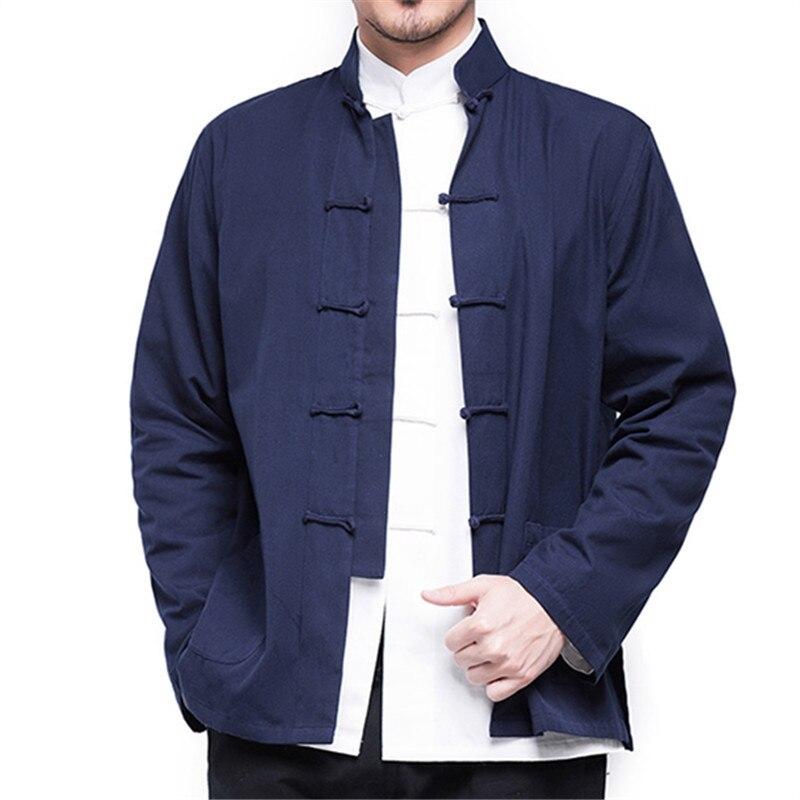 2021 New Men's Chinese Style Cotton Linen Coat Loose Kimono Cardigan Men Solid Color Linen Outerwear Jacket Coats недорого