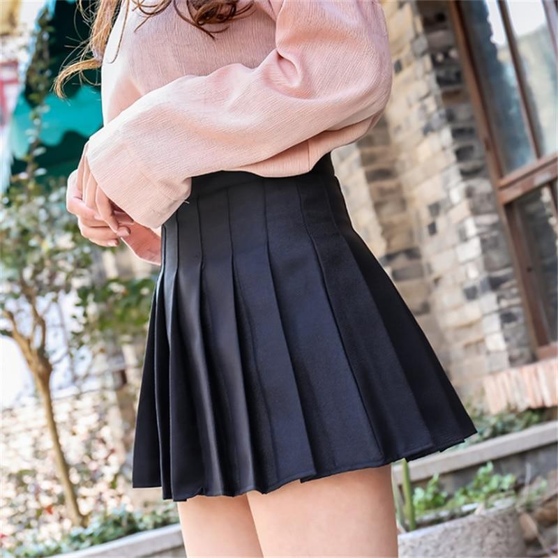 2021 Summer Student Girl JK Uniform Skirt New Korean High Waist Solid Color Mini Skirt School Girls Sexy Cute Pleated Skirt
