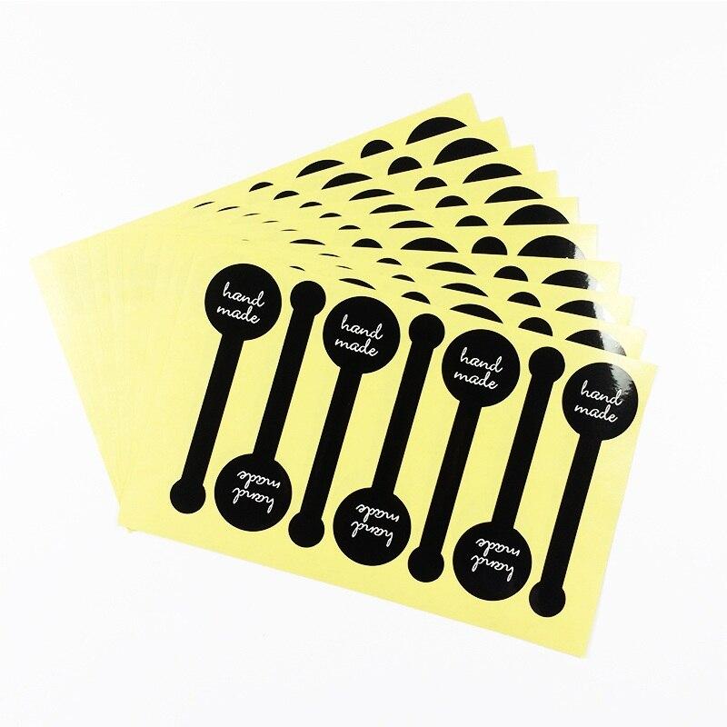 700 Lollipop Projeto pçs/lote Preto feito à mão Etiquetas bonitos Adesivos Etiqueta Pacote de Caixa