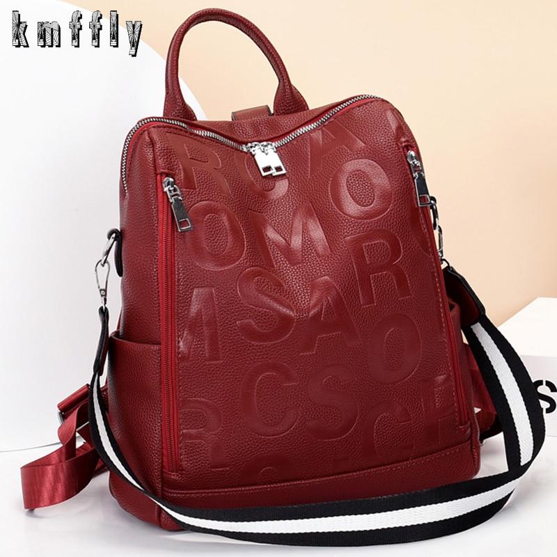 Elegant Woman With Bag Hot Women Backpacks Designer High Quality Soft Leather Fashion Back Bag Brand Female Travel Bags Backbags