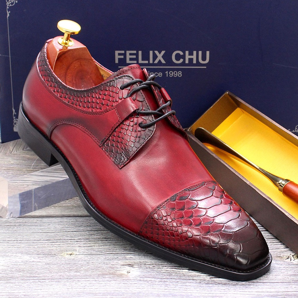 Big Size 13 Mens Wedding Dress Shoes Genuine Leather Derby Red Brown Snake Print Pointed Cap Toe Party Formal Suit Shoes for Men