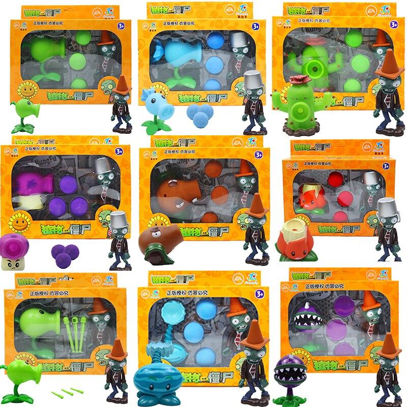2020 New Popular Game PVZ Plants vs Zombies Peashooter PVC Action Figure Model Toys 10CM Vs