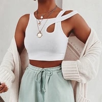 streetwear sleeveless summer white womens tank top bandage hollow out ribbed crop tops tees fashion fitness mini vest sporting