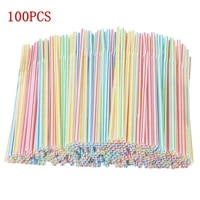 100pcspack plastic juice drink milk tea straws multi colored striped bendable disposable straws party multi color rainbow straw