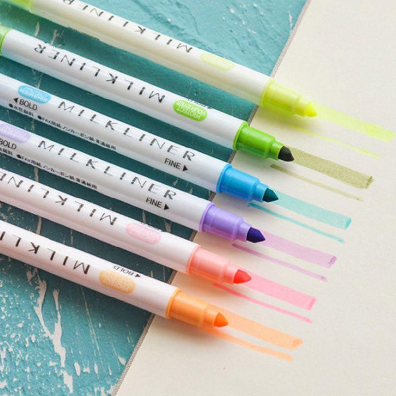 Rotuladores fluorescentes de doble extremo de Color caramelo de 5 uds., regalo de papelería