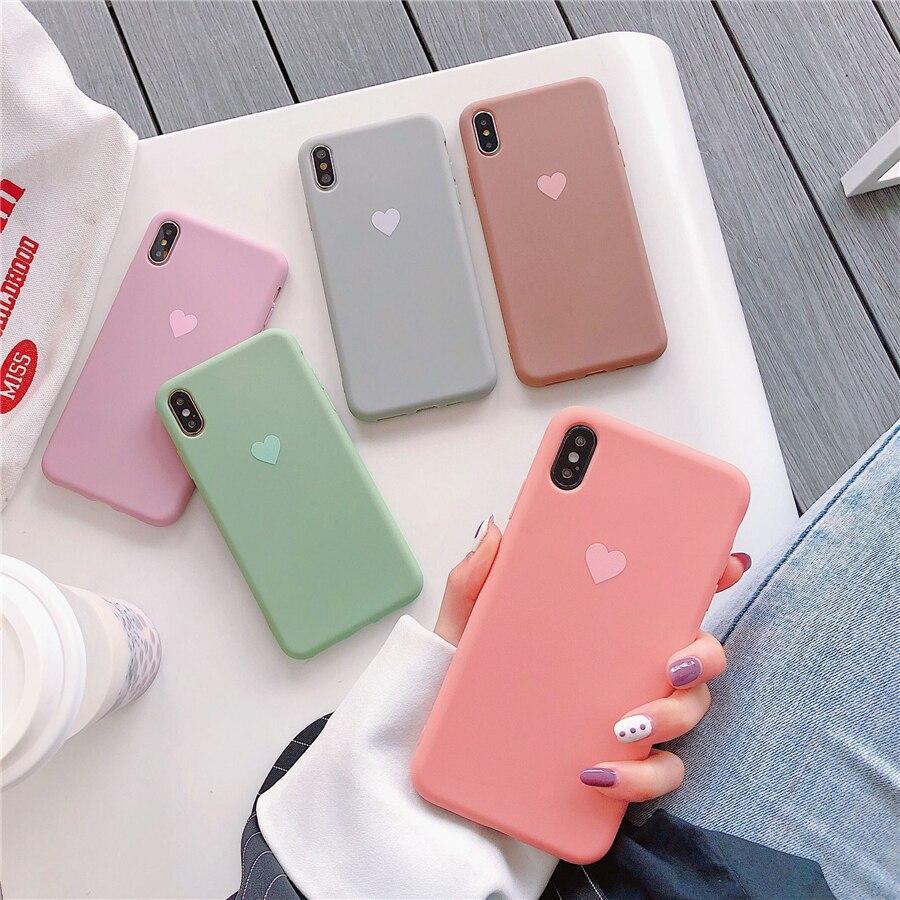 Parejas amor corazón caramelo Color silicona suave mate teléfono funda para iphone 8 Plus 6 6S 7 X XS Max funda trasera sólida a la moda XR