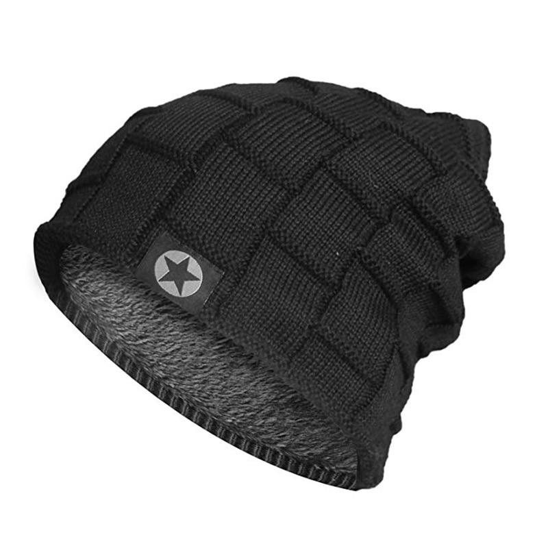 Gorro de invierno de estrella de alta calidad, gorros de abrigo de piel, gorros anchos, sombrero tejido para hombres y mujeres, gorros de esquí para deportes