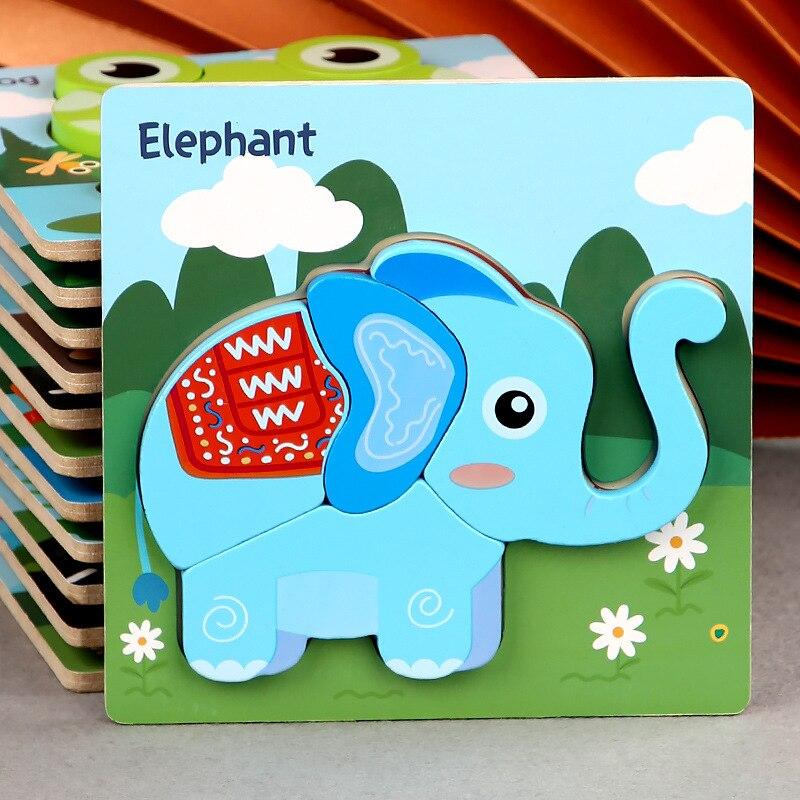 Детские развивающие игрушки, деревянные 3d Развивающие головоломки, Обучающие Мультяшные животные, Развивающие детские игрушки