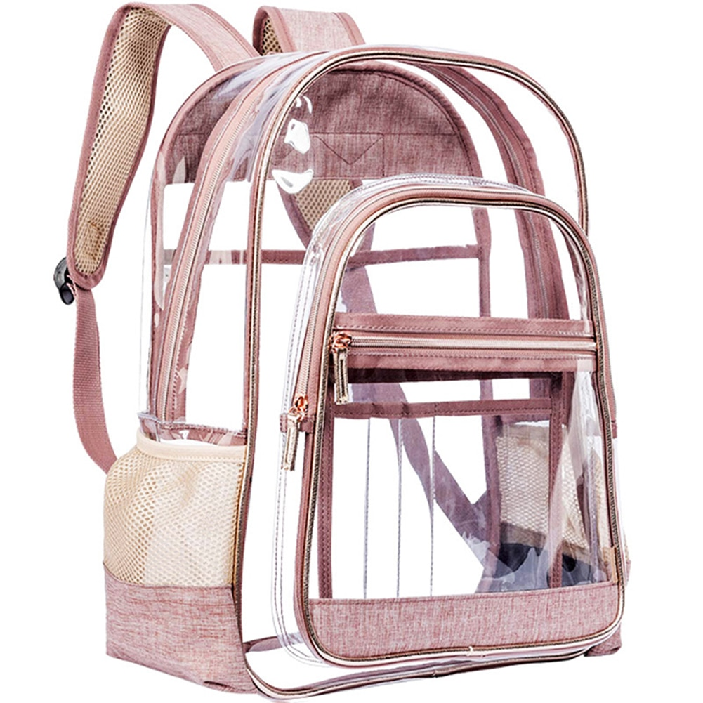 Women PVC Waterproof Transparent School Bag See Through Backpacks Durable Large Travel Backpack Solid Clear