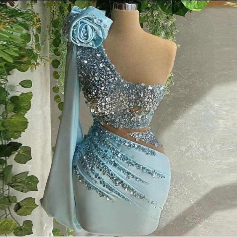Небесно-голубое короткое сексуальное платье на одно плечо с блестками для выпускного вечера, банкетного шоу, коктейльной вечеринки, индиви...