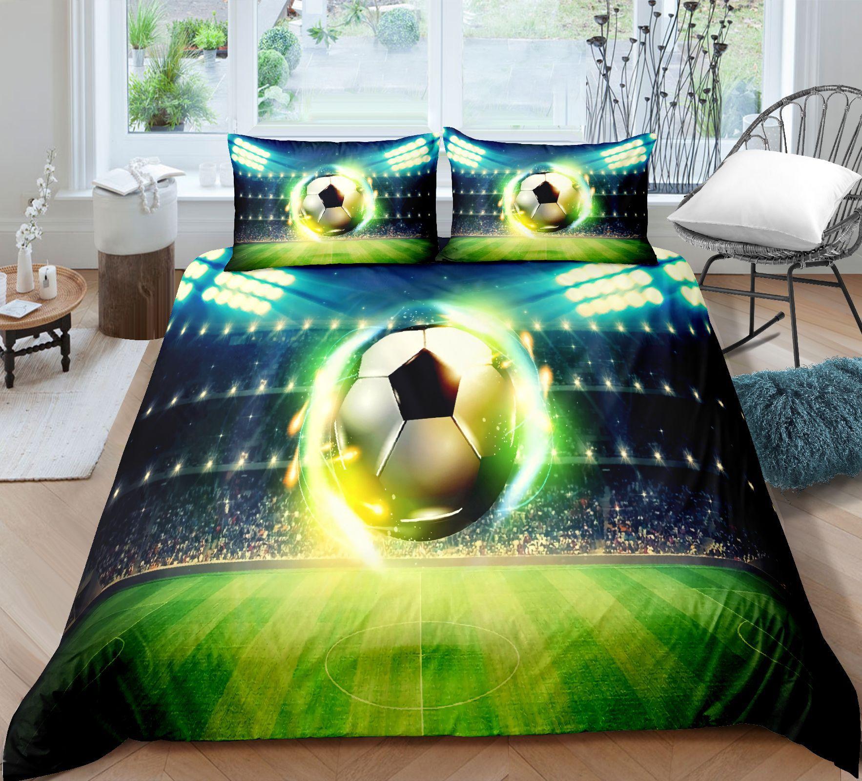 ثلاثية الأبعاد لكرة القدم طقم سرير كرة القدم المعزي مجموعة للأطفال كول حاف الغطاء خفيفة الوزن ديكور غرفة نوم طقم سرير