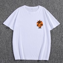 Summer Male Fashion T-shirt 100% Cotton Short Sleeve Coconut Tree Print Casual Loose Regular Clothes
